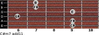 C#m7(add11) for guitar on frets 9, 9, 6, 9, 7, 7
