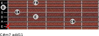 C#m7(add11) for guitar on frets x, 4, 2, 1, 0, 2