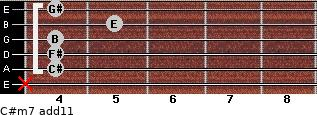 C#m7(add11) for guitar on frets x, 4, 4, 4, 5, 4