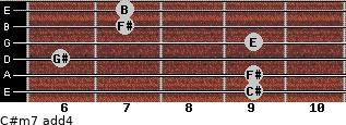 C#m7(add4) for guitar on frets 9, 9, 6, 9, 7, 7