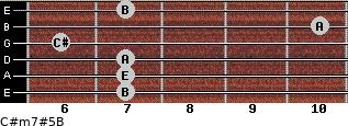 C#m7#5/B for guitar on frets 7, 7, 7, 6, 10, 7