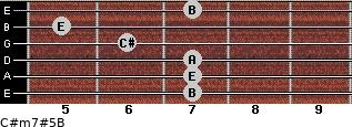 C#m7#5/B for guitar on frets 7, 7, 7, 6, 5, 7