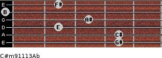 C#m9/11/13/Ab for guitar on frets 4, 4, 2, 3, 0, 2