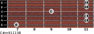 C#m9/11/13/B for guitar on frets 7, 11, 11, 9, 11, 11