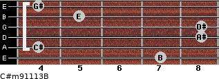 C#m9/11/13/B for guitar on frets 7, 4, 8, 8, 5, 4