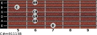 C#m9/11/13/B for guitar on frets 7, 6, 6, 6, 5, 6