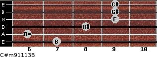 C#m9/11/13/B for guitar on frets 7, 6, 8, 9, 9, 9