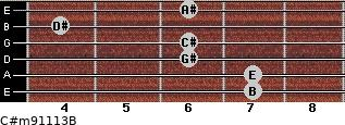 C#m9/11/13/B for guitar on frets 7, 7, 6, 6, 4, 6