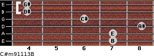 C#m9/11/13/B for guitar on frets 7, 7, 8, 6, 4, 4