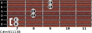 C#m9/11/13/B for guitar on frets 7, 7, 8, 8, 9, 9