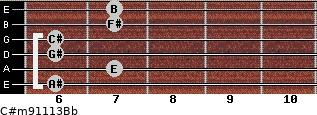 C#m9/11/13/Bb for guitar on frets 6, 7, 6, 6, 7, 7