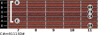 C#m9/11/13/D# for guitar on frets 11, 7, 11, 11, 11, 7