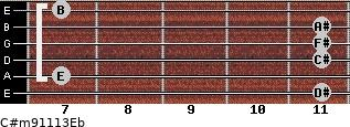 C#m9/11/13/Eb for guitar on frets 11, 7, 11, 11, 11, 7