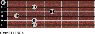 C#m9/11/13/Gb for guitar on frets 2, 2, 1, 3, 2, 0