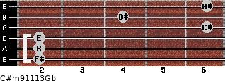 C#m9/11/13/Gb for guitar on frets 2, 2, 2, 6, 4, 6