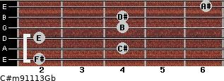 C#m9/11/13/Gb for guitar on frets 2, 4, 2, 4, 4, 6