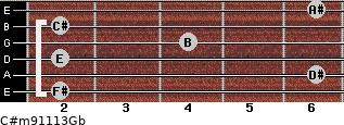 C#m9/11/13/Gb for guitar on frets 2, 6, 2, 4, 2, 6