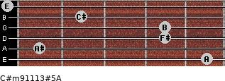 C#m9/11/13#5/A for guitar on frets 5, 1, 4, 4, 2, 0