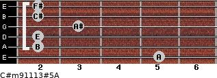 C#m9/11/13#5/A for guitar on frets 5, 2, 2, 3, 2, 2