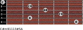C#m9/11/13#5/A for guitar on frets 5, 2, 4, 3, 2, 0