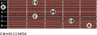 C#m9/11/13#5/A for guitar on frets 5, 4, 2, 3, 0, 2