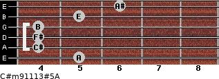 C#m9/11/13#5/A for guitar on frets 5, 4, 4, 4, 5, 6