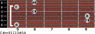 C#m9/11/13#5/A for guitar on frets 5, 9, 9, 6, 5, 6