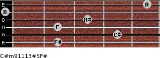 C#m9/11/13#5/F# for guitar on frets 2, 4, 2, 3, 0, 5