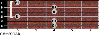 C#m9/11/Ab for guitar on frets 4, 4, 2, 4, 4, 2
