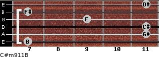 C#m9/11/B for guitar on frets 7, 11, 11, 9, 7, 11
