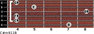 C#m9/11/B for guitar on frets 7, 4, 4, 8, 5, 4