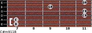 C#m9/11/B for guitar on frets 7, 7, 11, 11, 9, 11