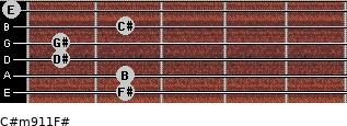 C#m9/11/F# for guitar on frets 2, 2, 1, 1, 2, 0