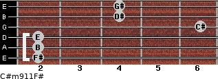 C#m9/11/F# for guitar on frets 2, 2, 2, 6, 4, 4