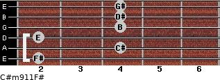 C#m9/11/F# for guitar on frets 2, 4, 2, 4, 4, 4