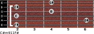 C#m9/11/F# for guitar on frets 2, 6, 2, 4, 2, 4