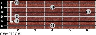 C#m9/11/G# for guitar on frets 4, 2, 2, 6, 4, 2