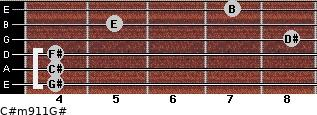 C#m9/11/G# for guitar on frets 4, 4, 4, 8, 5, 7