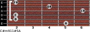 C#m9/11#5/A for guitar on frets 5, 2, 2, 6, 4, 2