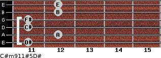 C#m9/11#5/D# for guitar on frets 11, 12, 11, 11, 12, 12