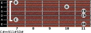 C#m9/11#5/D# for guitar on frets 11, 7, 11, 11, 10, 7