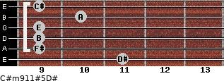 C#m9/11#5/D# for guitar on frets 11, 9, 9, 9, 10, 9
