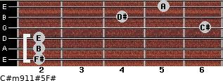 C#m9/11#5/F# for guitar on frets 2, 2, 2, 6, 4, 5