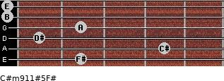 C#m9/11#5/F# for guitar on frets 2, 4, 1, 2, 0, 0