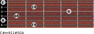 C#m9/11#5/Gb for guitar on frets 2, 0, 1, 4, 2, 0