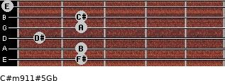 C#m9/11#5/Gb for guitar on frets 2, 2, 1, 2, 2, 0