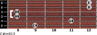 C#m9/13 for guitar on frets 9, 11, 8, 8, 12, 12