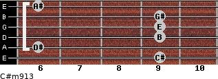 C#m9/13 for guitar on frets 9, 6, 9, 9, 9, 6