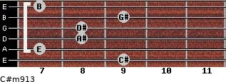 C#m9/13 for guitar on frets 9, 7, 8, 8, 9, 7