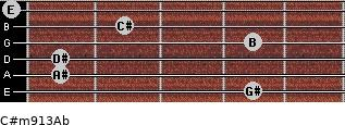 C#m9/13/Ab for guitar on frets 4, 1, 1, 4, 2, 0